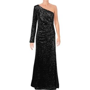 NWT Black Sequin One Shoulder Formal Long Gown 4